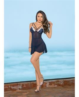 Strappy Front and Back Babydoll Navy/Ivory