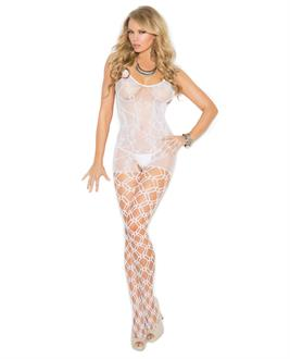 Crochet Bodystocking w/Open Crotch White
