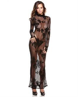 Tease Genevieve Floral Lace Gown w/G-String Black
