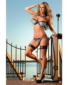 Lacy Bra w/Wired Cups w/Strappy Detail, Thong, Gloves and Leg Garters