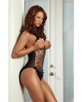 Erotic Body Open Bra and Crotch Teddy w/Silver Pattern Black