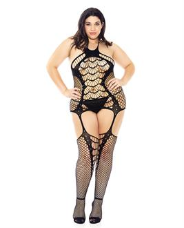 Halter Spider Web Fishnet Bodystocking Black