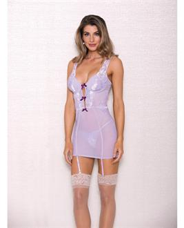 Lace and Mesh Chemise Lavender