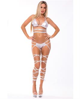Pink Lipstick Lace up Lover Bra Set Silver