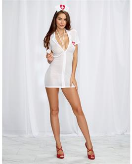 3 pc Stretch Mesh Chemise w/Front Zipper, Hat, and Stethoscope White/Red