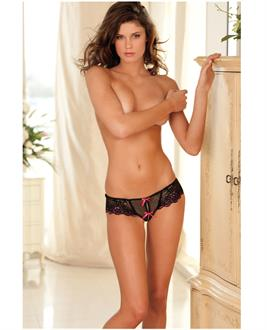 Rene rofe crotchless lace thong with bows