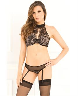Rene Rofe Lace Choker Bra With Garter G-String Set