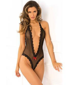 Rene Rofe Open Back Lace and Net Teddy Black