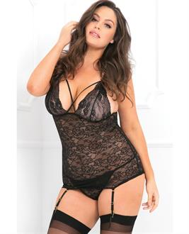 Rene Rofe Lace Time Chemise and Garter Black