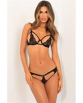 Rene Rofe Part Ways Bra and Panty Set Black