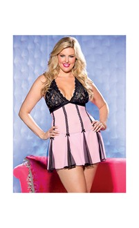 Lace Halter Babydoll w/Net and Bows Pink/Black