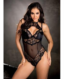 Stretch Satin and Mesh Teddy w/Undrwired Cups, Adjustbl Shoulder Straps Black