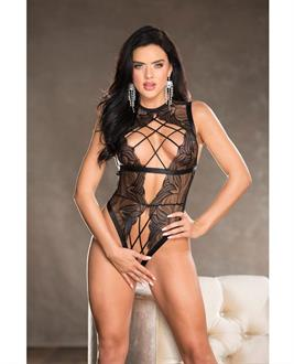 Valentine Lace Strappy Elastic Open Front Teddy w/Criss Cross Elastic Cording and Open Back Black