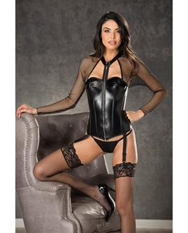Fishnet and Faux Leather Corset w/Zipper Front, Garters and G-String Black