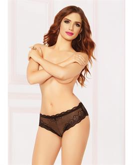 High Waisted Panty w/Lace Up Back Black