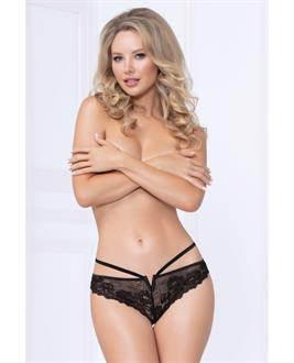 Strappy Lace Thong w/Plunging V Detail Black