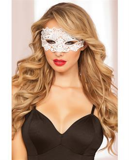 Lace Eye Mask w/Satin Ribbon Ties White