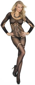 Long sleeve crochet bodystocking with floral design and open crotch.