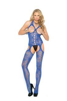 Lace suspender bodystocking with open bust