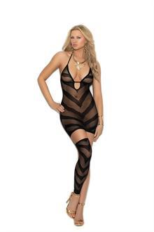 Opaque and fishnet halter neck mini dress