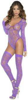 Sheer long sleeve hexagon pattern teddy and matching stockings.