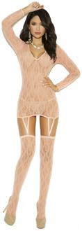 Long sleeve lace camisette and matching stockings.
