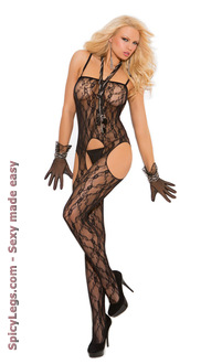 Lace suspender bodystocking