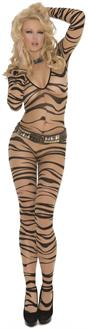 Sheer Zebra Print Long Sleeve Bodystocking
