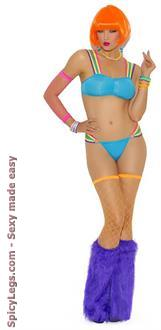 Neon Nites Strappy Bra Top With Matching G-String