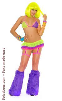 Neon Nites Mesh String Bra and Matching Skirt