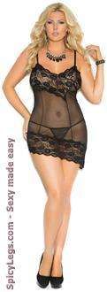 Mesh babydoll and matching g-string