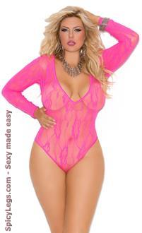 Plus Size Deep V Stretch Lace Teddy with Long Sleeves
