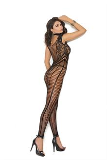 Crochet footless bodystocking with open crotch.