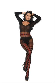 Sheer and opaque long sleeve bodystocking