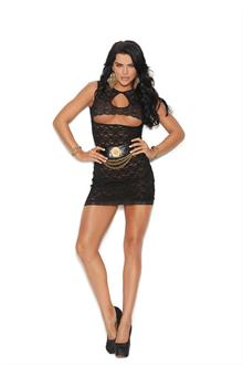 Lace mini dress with keyhole front and underbust cut out.
