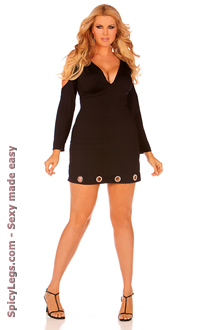 Long sleeve V-neck dress with open shoulders and ring trim