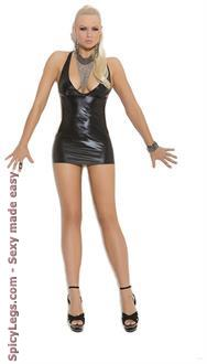 Wet Look Slip Style Mini Dress