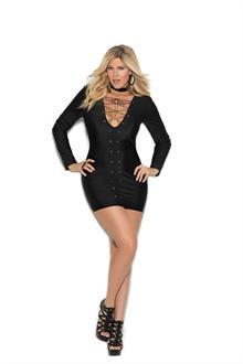 Long sleeve lycra mini dress-Plus