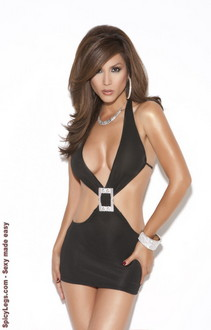 Deep V mini dress with rhinestone buckle