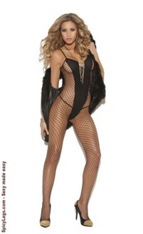 Diamond Net and Opaque Bodystocking