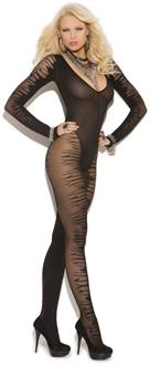 Long Sleeve Sheer Jacquard Bodystocking