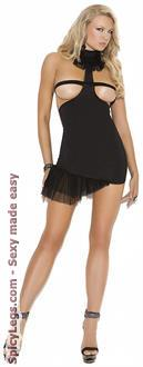 Opaque Mini Dress with Mesh Flounce Detail
