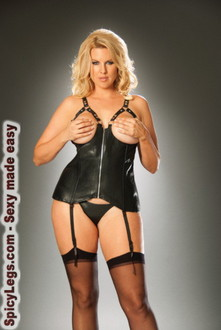 Open bust leather corset with zipper front and detachable garters
