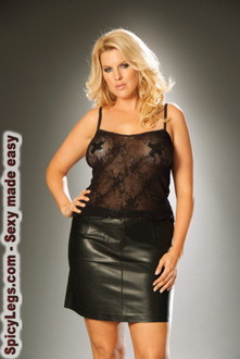 Leather pencil mini skirt with back zipper