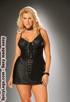 Lace up leather mini dress with underwire bra