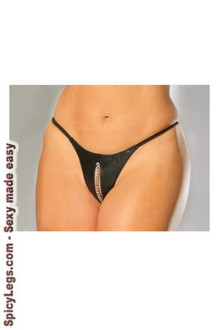 Leather peek-a-boo g-string with chain