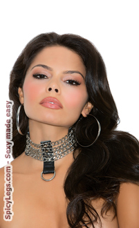 3 CHAIN AND LEATHER COLLAR