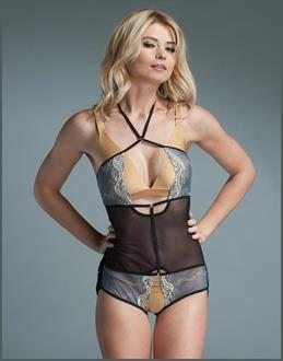Crotchless Play Suit Teddy Embroidered