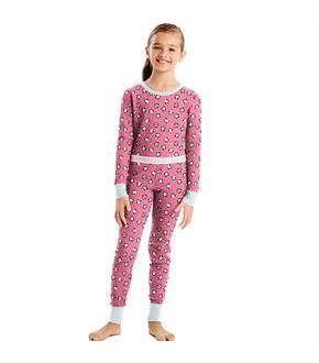 Hanes X-Temp Girls' Organic Cotton Printed Thermal Set