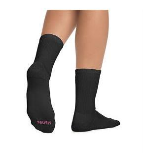 Hanes Cushioned Women's Crew Athletic Socks Extended Size 10-Pack